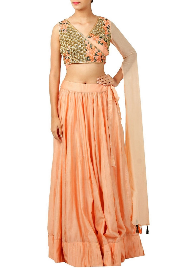 64115590bfad19 Buy peach cotton silk embroidered lehenga skirt online in USA. Find a range  of Indian