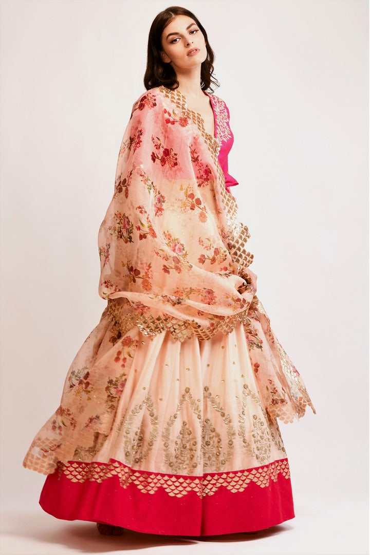 e1de621293a631 Shop peach embroidered chanderi lehenga with pink raw silk zardozi blouse  online in USA and organza