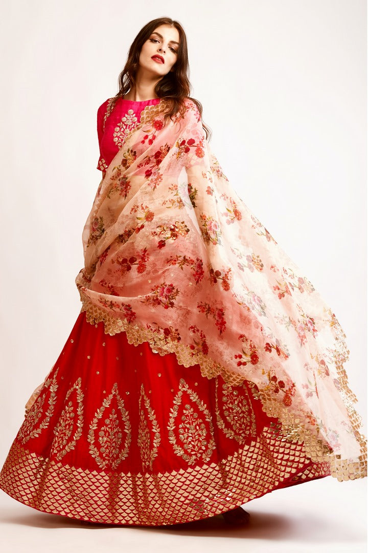 8d66f3969d219c Shop red embroidered chanderi lehenga with pink raw silk zardozi work blouse  online in USA and