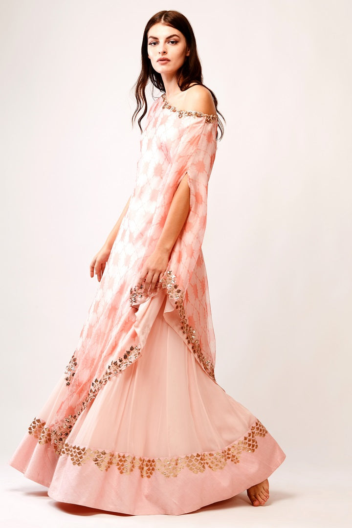 75732bb010c09 Buy beautiful peach printed organza drop shoulder tunic with georgette skirt  online in USA. You