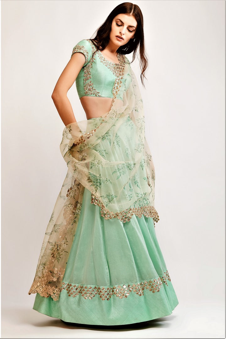 91d135de59a89 Buy mint green embroidered chanderi lehenga with zardozi work blouse online  in USA. You can