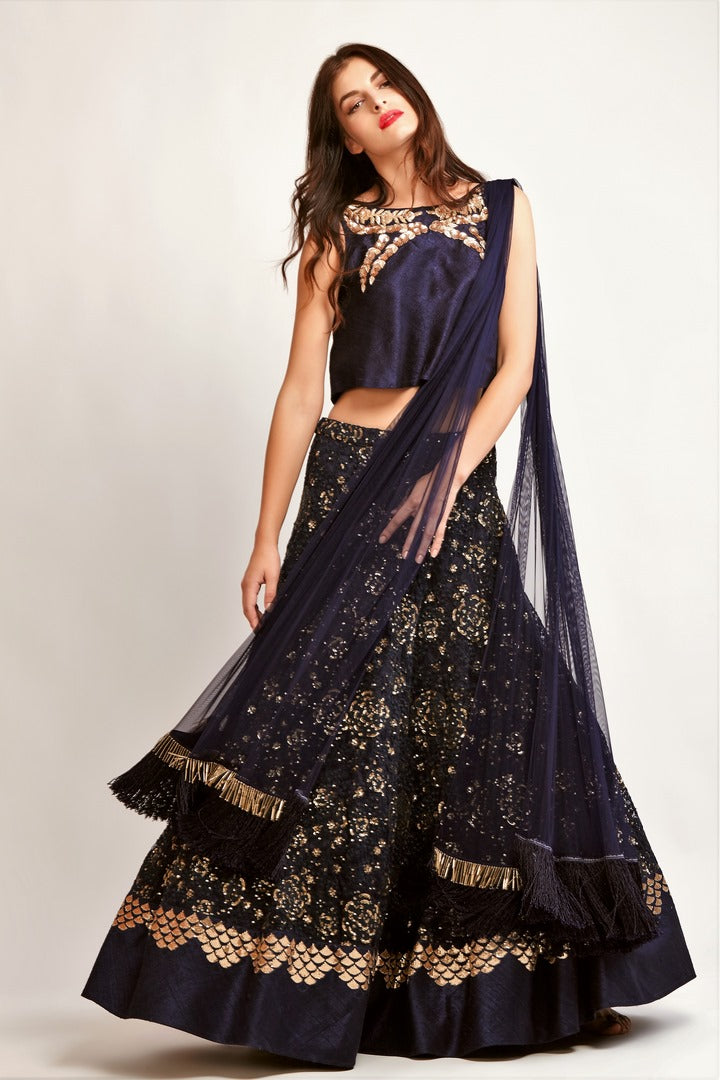 7de0968a0b8d7 Buy navy blue embroidered lehenga with raw silk crop top online in USA. You  can
