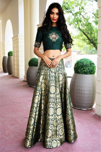 5972dbf5368 Buy deep green dupion crop top with Banarasi kalidaar skirt online in USA.  Get wedding