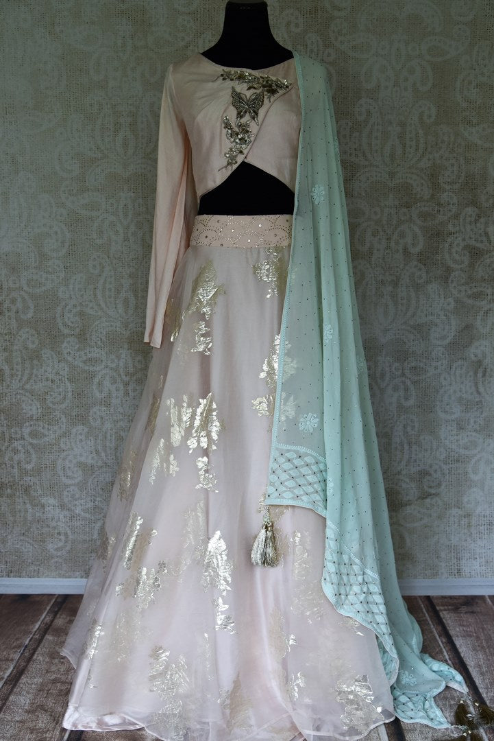 Buy powder pink organza lehenga with chikankari dupatta online in USA. Make your ethnic style absolutely special with a range of designer lehengas, Anarkali suits, Indian clothing available at Pure Elegance Indian fashion store in USA. Find the best Indian dresses for brides in USA also available on our online store.-full view