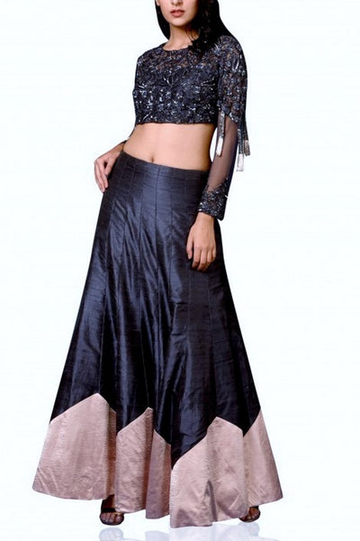 Buy classy dark blue raw silk lehenga with embroidered blouse online in USA and dupatta. Elevate your ethnic style with a stunning variety of designer dresses from Pure Elegance Indian clothing store in USA, Get your hands on a range of exquisite designer lehengas, wedding sarees, Anarkali suits also available at our online store.-full view