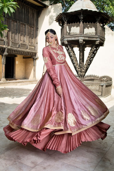 Buy old rose embroidered chanderi lehenga with dupatta online in USA. Find a range of Indian designer dresses at Pure Elegance clothing store in USA. Enrich your traditional style with a range of Indian clothing, designer Anarkali suits, wedding lehengas, and much more also available at our online store.-full view