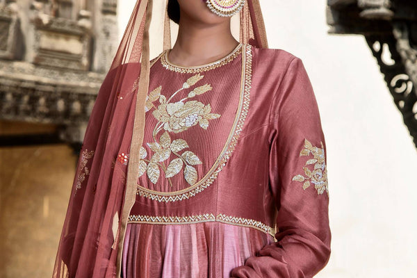 Buy old rose embroidered chanderi lehenga with dupatta online in USA. Find a range of Indian designer dresses at Pure Elegance clothing store in USA. Enrich your traditional style with a range of Indian clothing, designer Anarkali suits, wedding lehengas and much more also available at our online store.-top