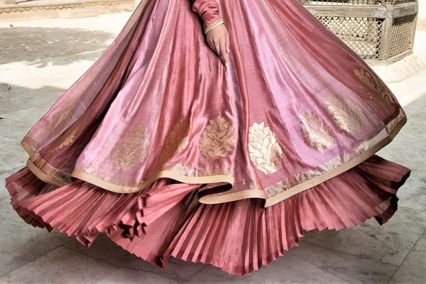 Buy old rose embroidered chanderi lehenga with dupatta online in USA. Find a range of Indian designer dresses at Pure Elegance clothing store in USA. Enrich your traditional style with a range of Indian clothing, designer Anarkali suits, wedding lehengas, and much more also available at our online store.-bottom