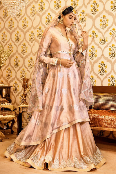 Buy beige color embroidered chanderi handloom lehenga with dupatta online in USA. Find a range of Indian designer dresses at Pure Elegance clothing store in USA. Enrich your traditional style with a range of Indian clothing, designer Anarkali suits, wedding lehengas, and much more also available at our online store.-full view