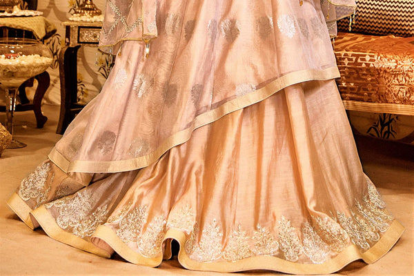 Buy beige color embroidered chanderi handloom lehenga with dupatta online in USA. Find a range of Indian designer dresses at Pure Elegance clothing store in USA. Enrich your traditional style with a range of Indian clothing, designer Anarkali suits, wedding lehengas, and much more also available at our online store.-skirt