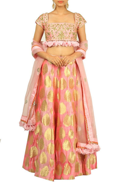 Stunning peach embroidered lehenga with dupatta for online shopping in USA. Make your ethnic wardrobe complete with an exquisite collection of Indian designer clothing from Pure Elegance clothing store in USA. A splendid variety of designer dresses, designer lehenga choli, salwar suits will leave you wanting for more. Shop now.-full view