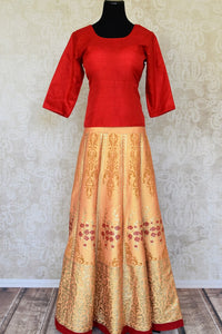 Shop beautiful red silk top with cream khadi silk skirt online in USA. Make your style extraordinary on weddings and special occasions with Indian designer lehenga, traditional dresses, Anarkali suits from Pure Elegance Indian clothing store in USA.-full view