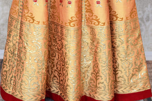 Shop beautiful red silk top with cream khadi silk skirt online in USA. Make your style extraordinary on weddings and special occasions with Indian designer lehenga, traditional dresses, Anarkali suits from Pure Elegance Indian clothing store in USA.-bottom