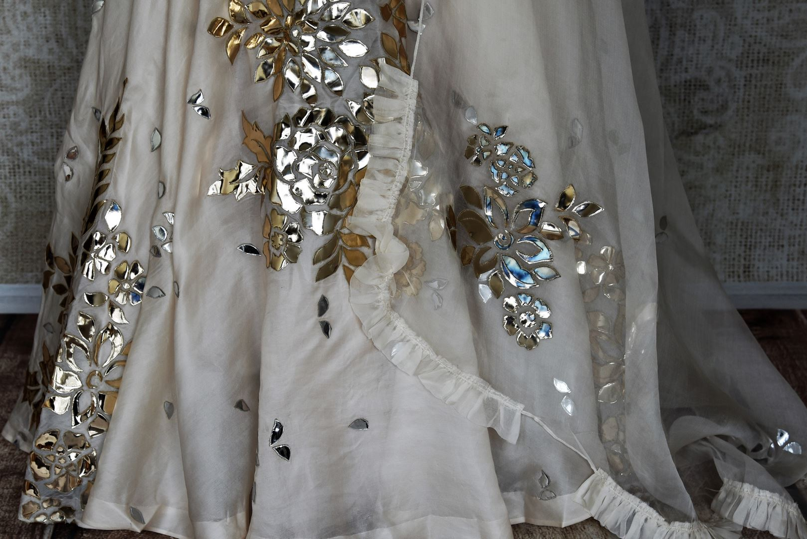 Shop online white applique work contemporary style silk lehenga with