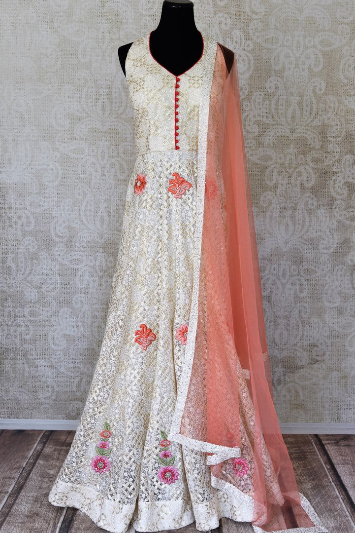 Buy cream embroidered net Anarkali suit online in USA with pants. Step up your ethnic fashion game with exquisite variety of designer Anarkali suits from Pure Elegance Indian clothing store in USA. Shop online.-full view