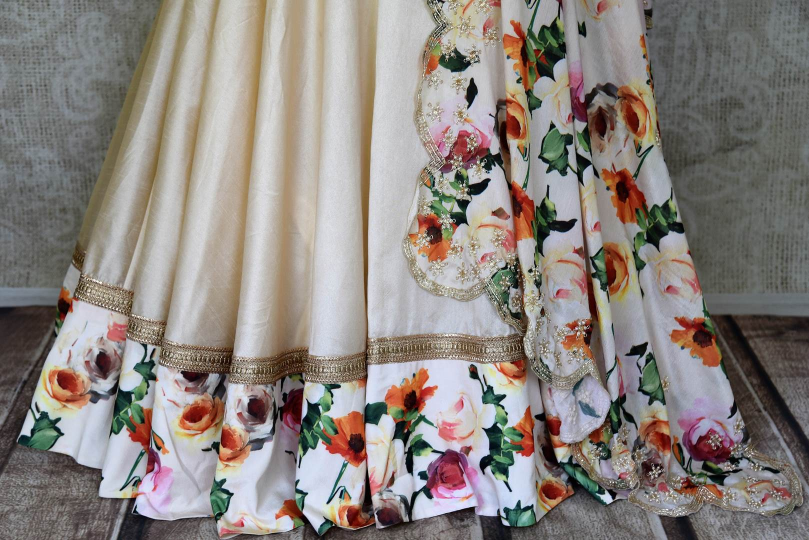 300416 Cream and Red Floral Hand Embroidered Silk Lehenga