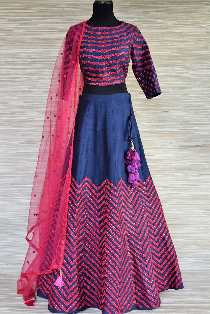 Buy blue and pink embroidered silk lehenga online  in USA with dupatta. Enhance your traditional style on special occasions with splendid designer lehengas, Indian dresses from Pure Elegance Indian fashion store in USA.-full view