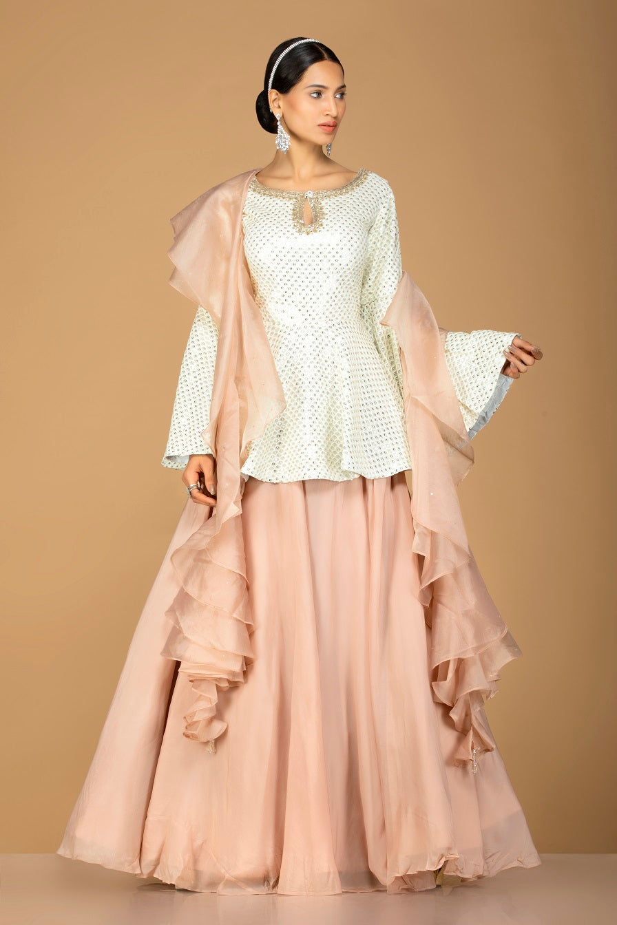 Shop gorgeous off-white and beige embroidered net lehenga online in USA with sequin embroidery. Gear up for the festive season with exquisite designer lehengas, Anarkali suits. Indian dresses from Pure Elegance Indian fashion store in USA. Shop online now.-full view