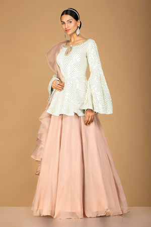 Shop gorgeous off-white and beige embroidered net lehenga online in USA with sequin embroidery. Gear up for the festive season with exquisite designer lehengas, Anarkali suits. Indian dresses from Pure Elegance Indian fashion store in USA. Shop online now.-side