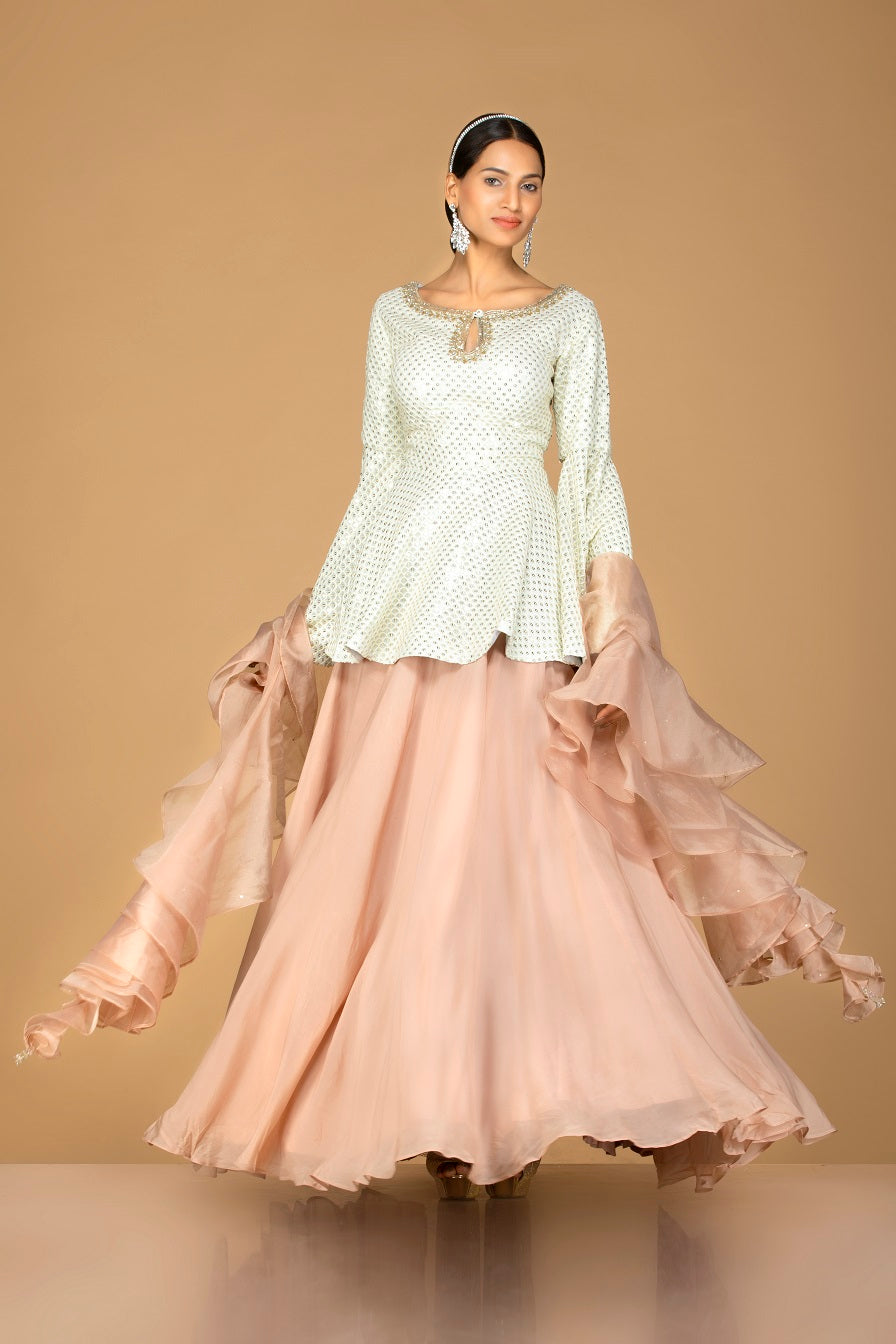 Shop gorgeous off-white and beige embroidered net lehenga online in USA with sequin embroidery. Gear up for the festive season with exquisite designer lehengas, Anarkali suits. Indian dresses from Pure Elegance Indian fashion store in USA. Shop online now.-front