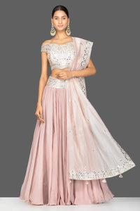 Buy beautiful nude pink applique work georgette lehenga online in USA with dupatta. Gear up for the festive season with exquisite designer lehengas, Anarkali suits. Indian dresses from Pure Elegance Indian fashion store in USA. Shop online now.-full view