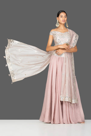 Buy beautiful nude pink applique work georgette lehenga online in USA with dupatta. Gear up for the festive season with exquisite designer lehengas, Anarkali suits. Indian dresses from Pure Elegance Indian fashion store in USA. Shop online now.-front
