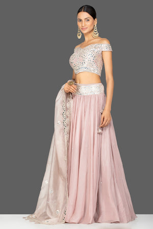Buy beautiful nude pink applique work georgette lehenga online in USA with dupatta. Gear up for the festive season with exquisite designer lehengas, Anarkali suits. Indian dresses from Pure Elegance Indian fashion store in USA. Shop online now.-side