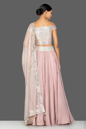 Buy beautiful nude pink applique work georgette lehenga online in USA with dupatta. Gear up for the festive season with exquisite designer lehengas, Anarkali suits. Indian dresses from Pure Elegance Indian fashion store in USA. Shop online now.-back