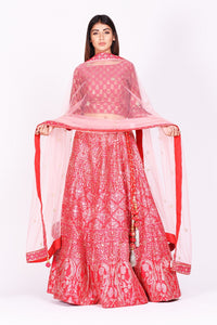 Buy beautiful pink embroidered silk lehenga with dupatta online in USA. Make a stunning fashion statement at weddings and special occasions with an exquisite collection of designer Anarkali suits, traditional salwar suits, bridal lehengas from Pure Elegance Indian fashion store in USA. -full view