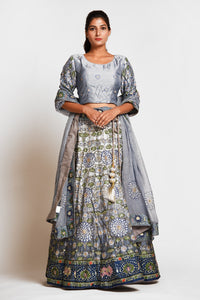 Shop stunning grey printed embroidered silk lehenga online in USA with dupatta. Elevate your traditional Indian style with exquisite designer lehengas, Anarkali suits, traditional salwar suits from Pure Elegance Indian clothing store in USA.-full view
