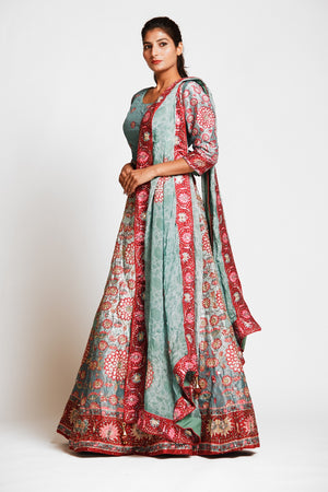 Buy gorgeous mint green printed embroidered silk lehenga online in USA with dupatta. Elevate your traditional Indian style with exquisite designer lehengas, Anarkali suits, traditional salwar suits from Pure Elegance Indian clothing store in USA.-left side