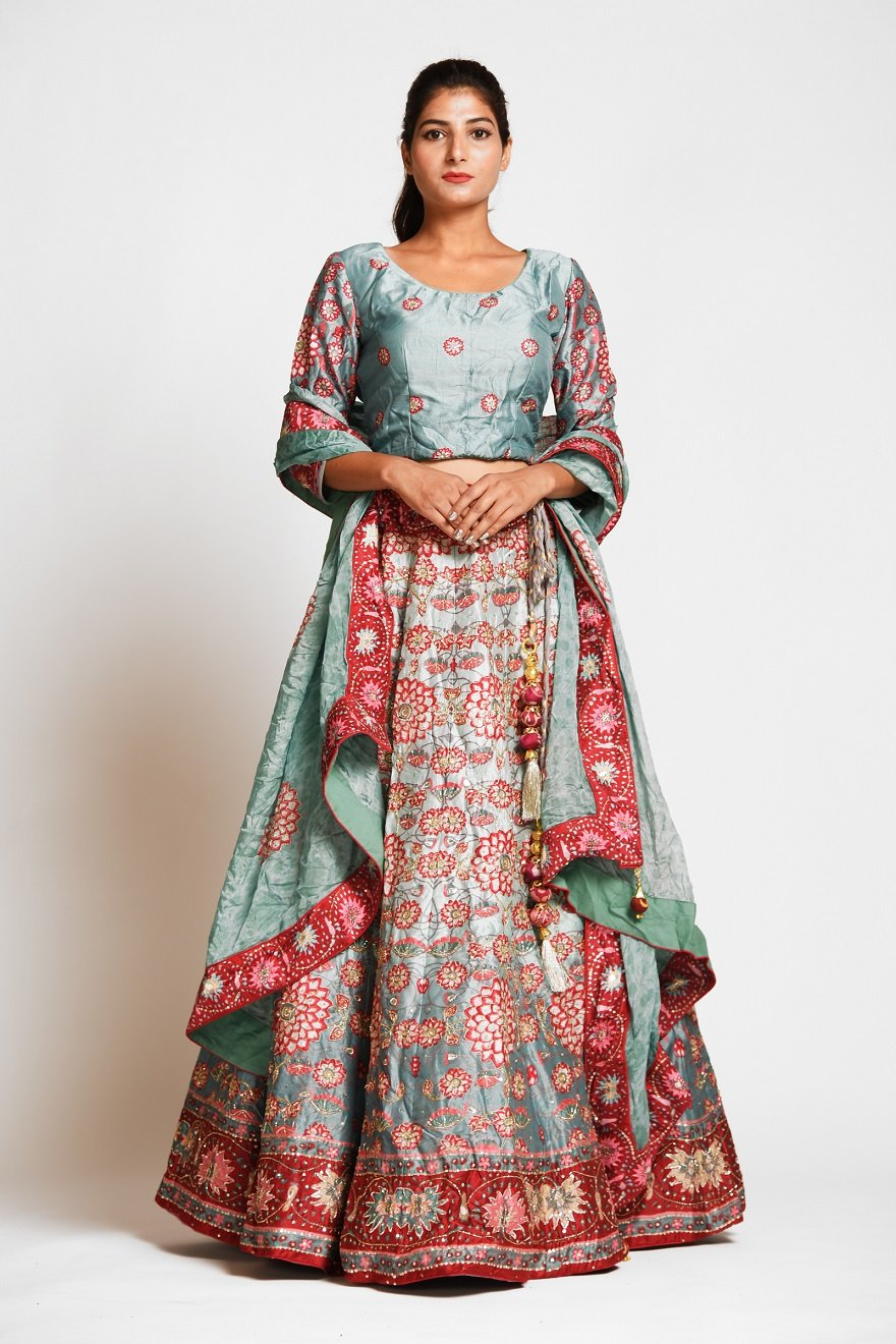 Buy gorgeous mint green printed embroidered silk lehenga online in USA with dupatta. Elevate your traditional Indian style with exquisite designer lehengas, Anarkali suits, traditional salwar suits from Pure Elegance Indian clothing store in USA.-front