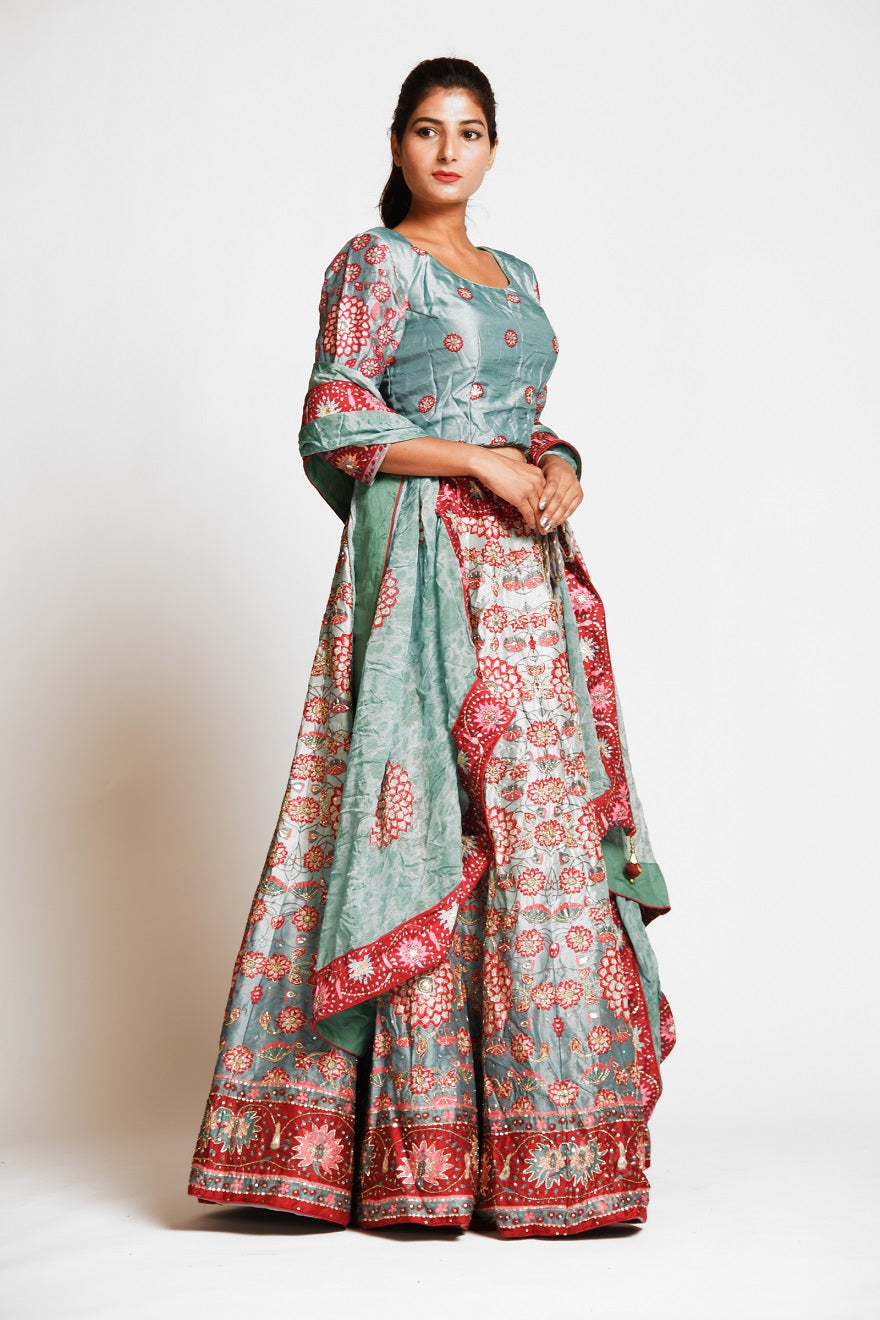 Buy gorgeous mint green printed embroidered silk lehenga online in USA with dupatta. Elevate your traditional Indian style with exquisite designer lehengas, Anarkali suits, traditional salwar suits from Pure Elegance Indian clothing store in USA.-right side