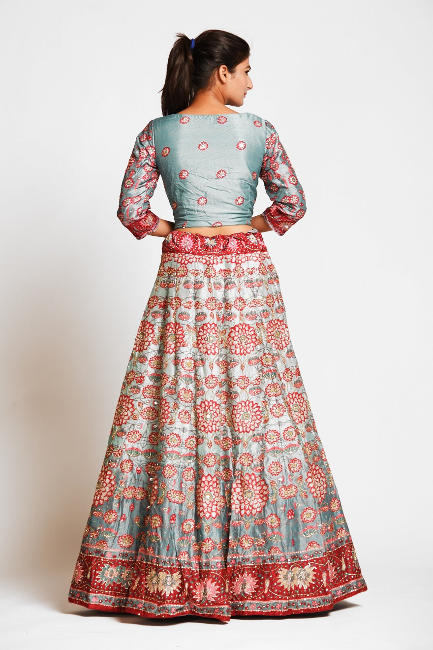 Buy gorgeous mint green printed embroidered silk lehenga online in USA with dupatta. Elevate your traditional Indian style with exquisite designer lehengas, Anarkali suits, traditional salwar suits from Pure Elegance Indian clothing store in USA.-back