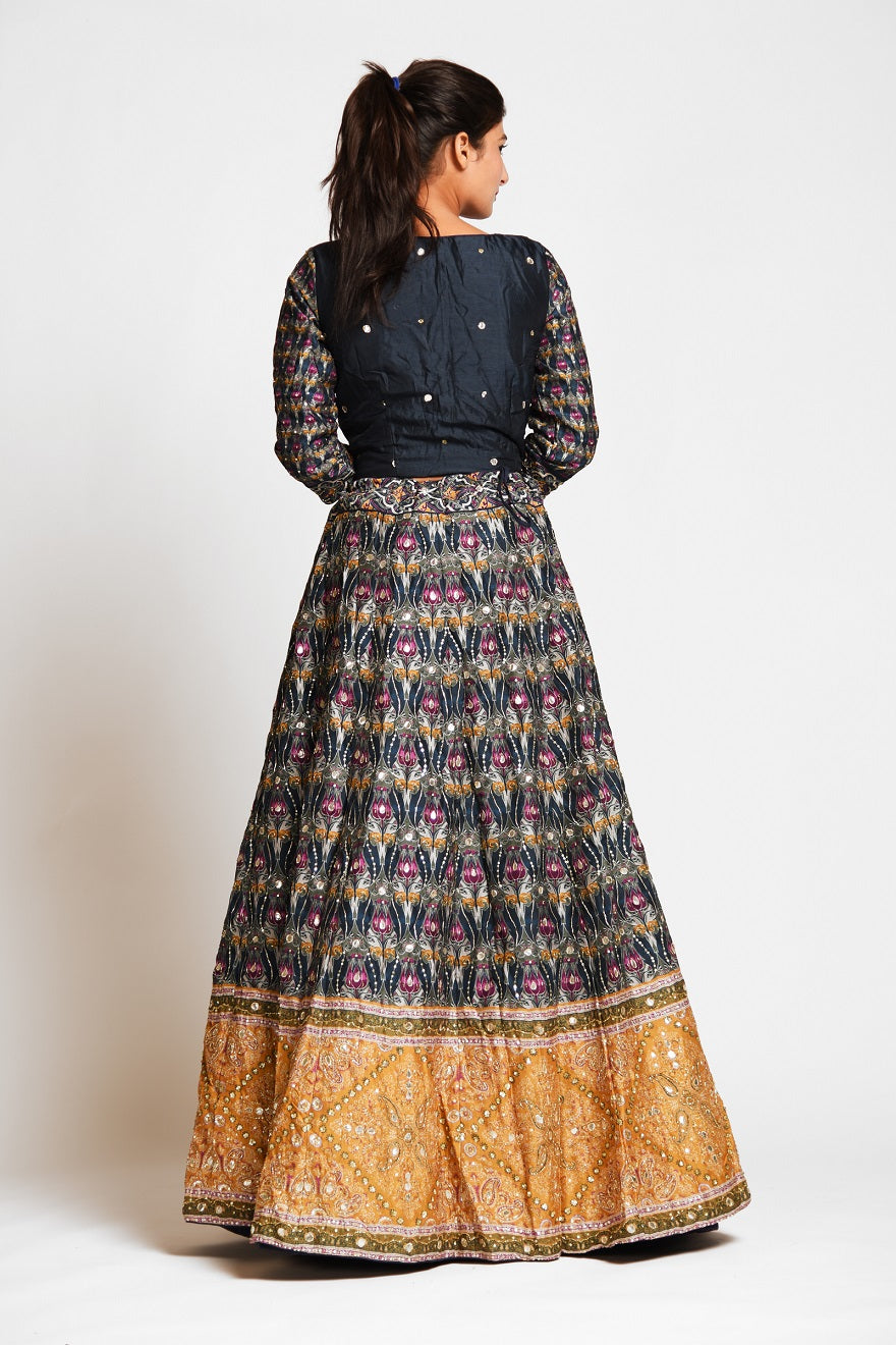 Buy beautiful black embroidered silk lehenga online in USA with mustard border and white net dupatta. Elevate your traditional Indian style with exquisite designer lehengas, Anarkali suits, traditional salwar suits from Pure Elegance Indian clothing store in USA.-back