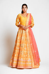 Shop captivating yellow color embroidered designer silk lehenga online in USA with pink net dupatta. Elevate your traditional Indian style with exquisite designer lehengas, Anarkali suits, traditional salwar suits from Pure Elegance Indian clothing store in USA.-full view