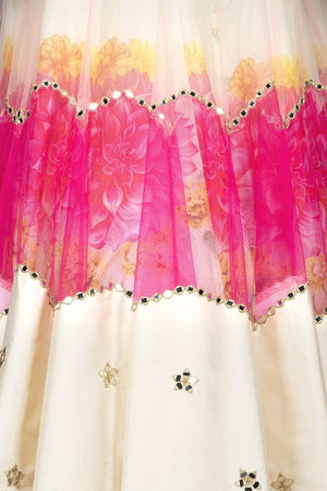 Buy beautiful cream and pink organza mirror work lehenga online in USA with matching dupatta. Spread ethnic elegance on weddings and special occasions in splendid designer lehengas, Indowestern dresses crafted with exquisite Indian craftsmanship from Pure Elegance Indian fashion store in USA.-skirt