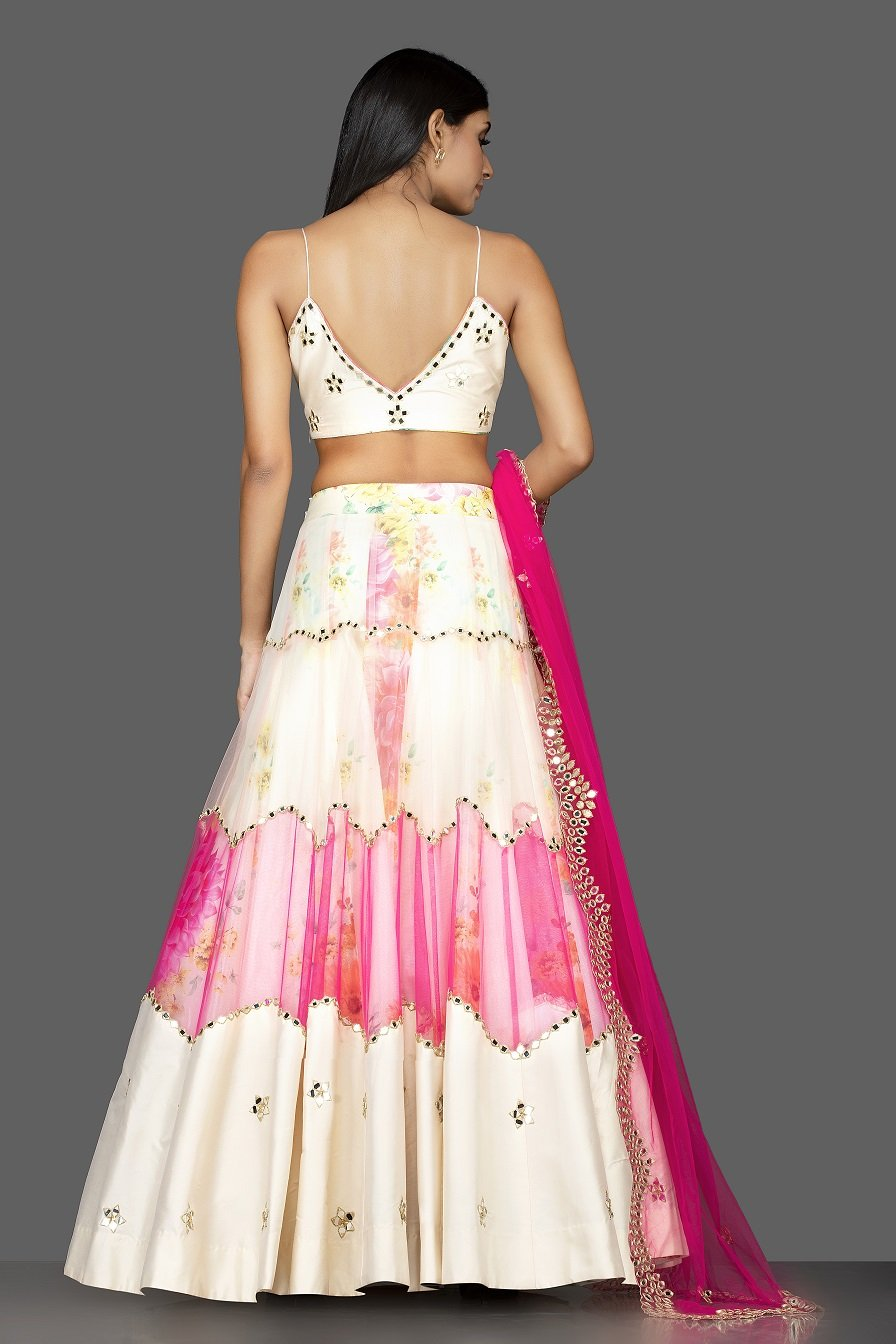 Buy beautiful cream and pink organza mirror work lehenga online in USA with matching dupatta. Spread ethnic elegance on weddings and special occasions in splendid designer lehengas, Indowestern dresses crafted with exquisite Indian craftsmanship from Pure Elegance Indian fashion store in USA.-back