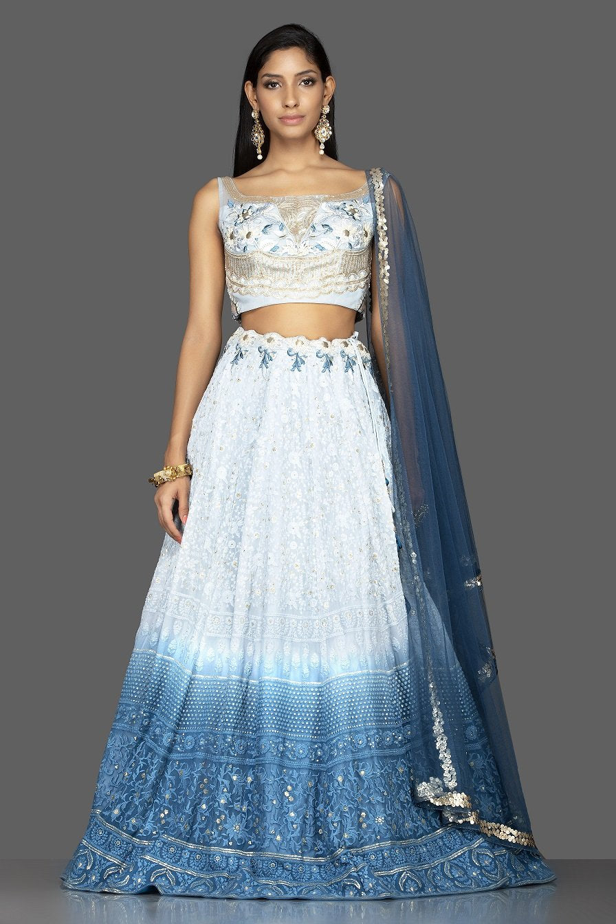Shop charming ombre blue Lucknowi work georgette lehenga online in USA with matching net dupatta. Look radiant on weddings and special occasions in splendid designer lehengas crafted with finest embroideries and stunning silhouettes from Pure Elegance Indian fashion boutique in USA.-full view