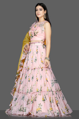 Buy stunning powder pink floral organza silk lehenga online in USA with yellow dupatta. Flaunt ethnic fashion with exquisite designer lehenga, Indian wedding dresses from Pure Elegance Indian fashion boutique in USA.-side