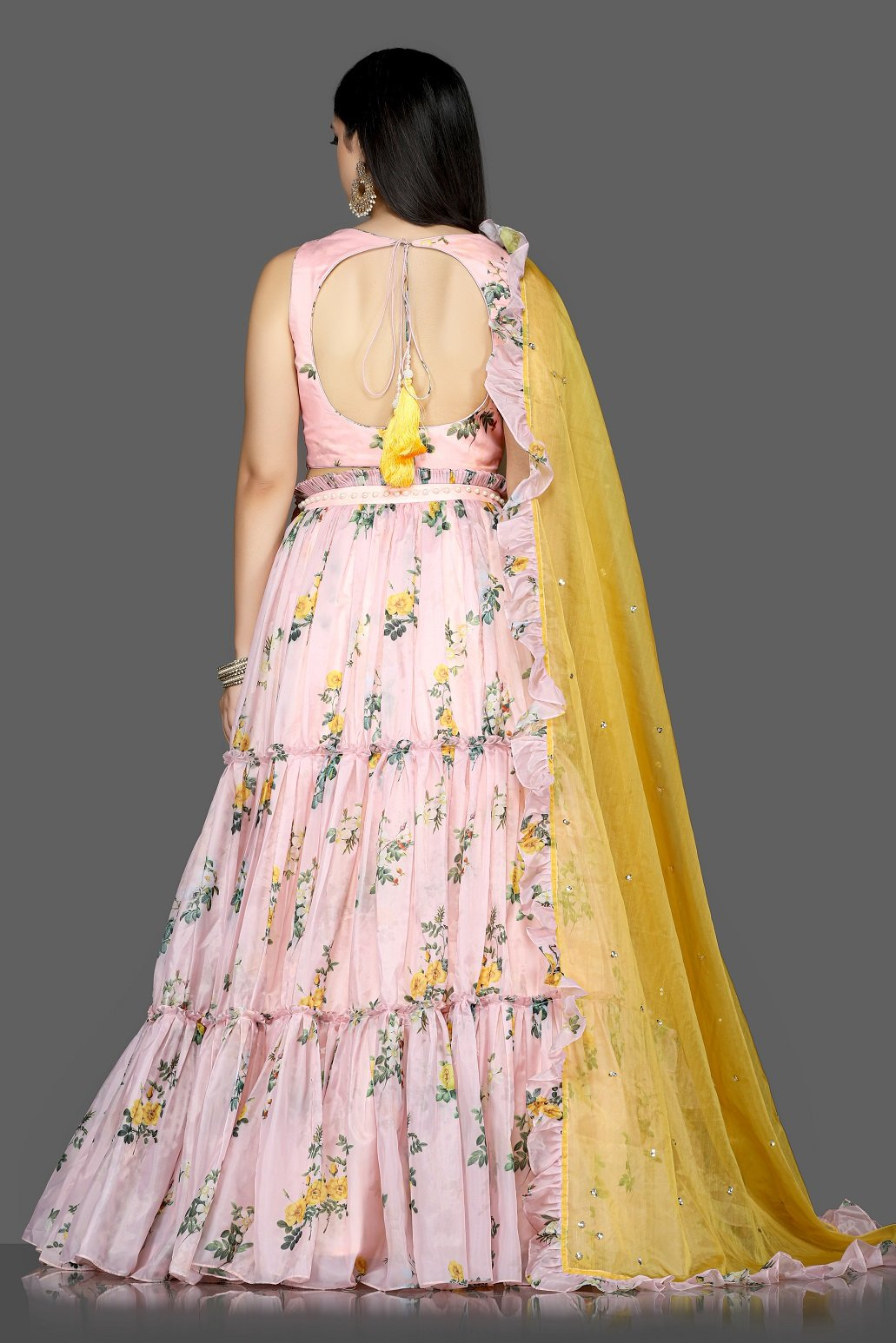 Buy stunning powder pink floral organza silk lehenga online in USA with yellow dupatta. Flaunt ethnic fashion with exquisite designer lehenga, Indian wedding dresses from Pure Elegance Indian fashion boutique in USA.-back