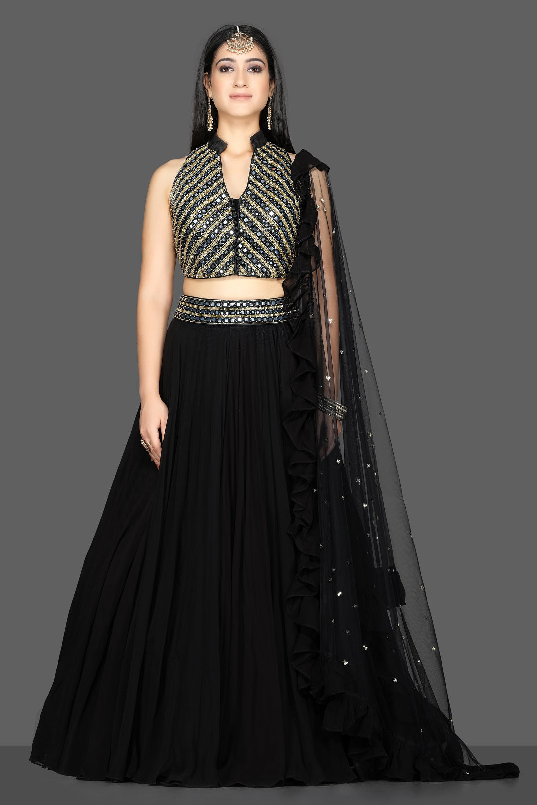 Shop beautiful black embroidered net lehenga online in USA with dupatta. Flaunt ethnic fashion with exquisite designer lehenga, Indian wedding dresses from Pure Elegance Indian fashion boutique in USA.-full view