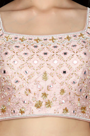 Buy gorgeous powder pink embroidered georgette lehenga online in USA with dupatta. Go for an attractive wedding style with Pure Elegance designer lehengas. traditional salwar suits, Indowestern dresses available at our exclusive Indian fashion store in USA.-blouse