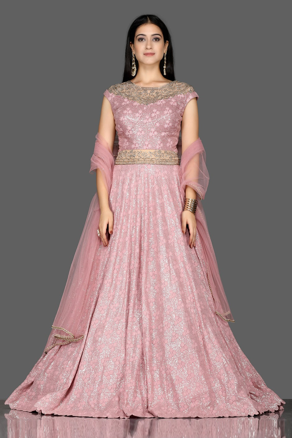 Shop beautiful pink embroidered floorlength Anarkali with dupatta online in USA. Shine at weddings and special occasions with beautiful designer lehengas, Anarkali suits from Pure Elegance Indian clothing store in USA.-full view