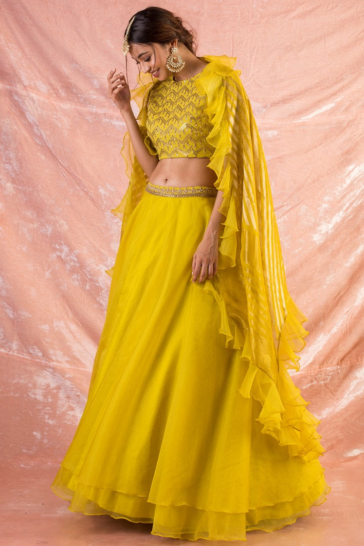 Yellow Embroidered Organza Lengha With Blouse And Duppatta -full view
