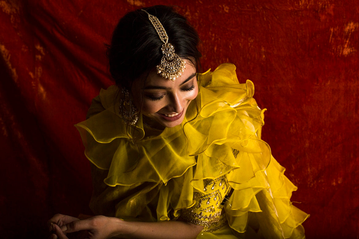 Yellow Embroidered Organza Lengha With Blouse And Duppatta - very close up