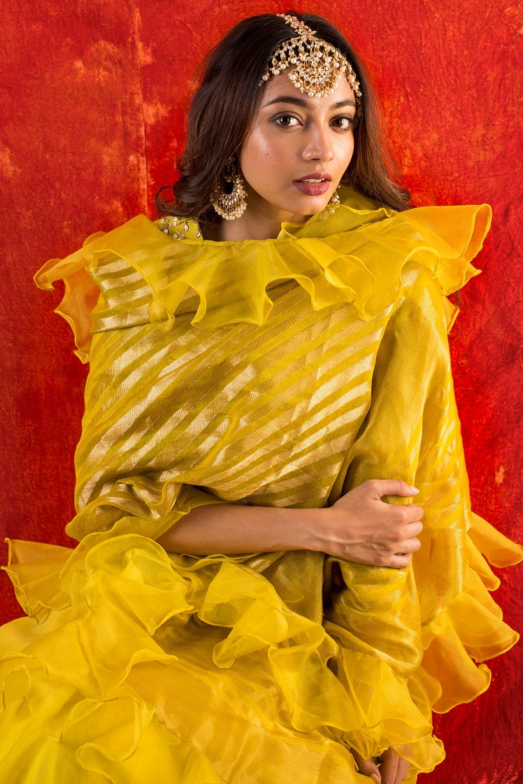 Yellow Embroidered Organza Lengha With Blouse And Duppatta -close up