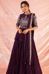 Purple Embroidered Georgette Lengha With Blouse And Duppatta Online in USA-full view