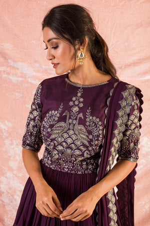 Purple Embroidered Georgette Lengha With Blouse And Duppatta Online in USA-close up