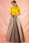 Yellow/Grey Embroidered Silk Lengha With Blouse Online in USA-full view